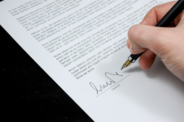 A person signing